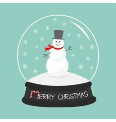 Cartoon Snowman on snowdrift Crystal ball with vector