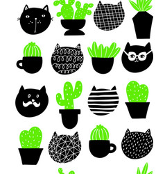cats and home plants pattern art vector image