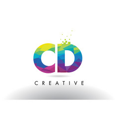 Cd c d colorful letter origami triangles design vector