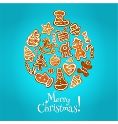Christmas bauble ball made up of sweet gingerbread vector image