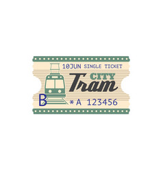 City tram single ticket isolated boarding pass vector
