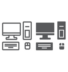 Computer line and glyph icon technology and vector