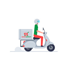 courier delivering food on scooter vector image
