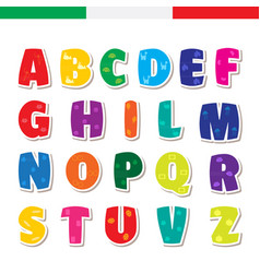 Cute funny childish italian alphabet font vector