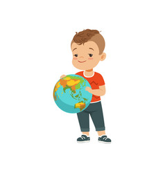 Cute little boy holding globe kid protecting vector
