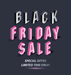 dark banner for black friday sale isometric pink vector image