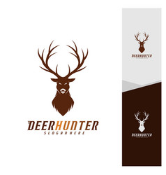 deer head logo design template luxury deer hunt vector image