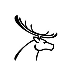 deer with antlers isolated profile head vector image