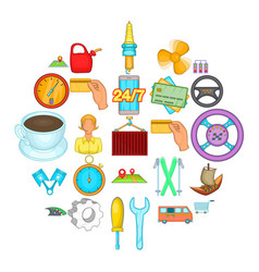 delivery by transport icons set cartoon style vector image