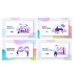 devops teamwork website landing page set vector image