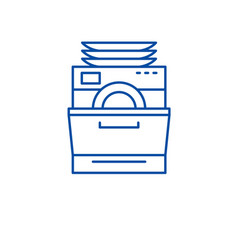 Dish washer line icon concept dish washer flat vector