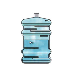 Drawing water bottle big plastic dispenser vector