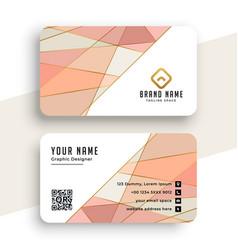 Elegant pastel color low poly business card design vector