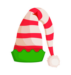 Elf striped hat with green wavy trim isolated vector