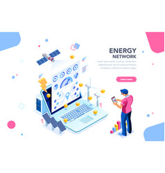 Energy network web page banner vector