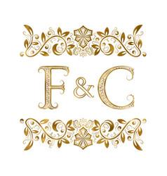 F and c vintage initials logo symbol vector
