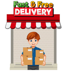 Fast and free logo with deliver or courier man in vector