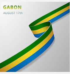 Flag gabon 17th august vector
