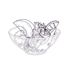 fruit salad in bowl hand drawn with black contour vector image