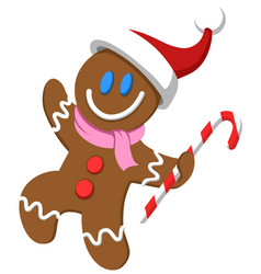 Gingerbread man with santa hat vector