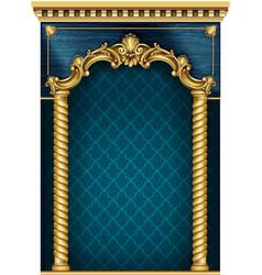Golden dark classic arch portal and columns vector