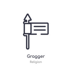 Gragger outline icon isolated line from religion vector
