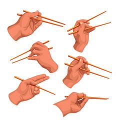 Hand chopsticks set vector