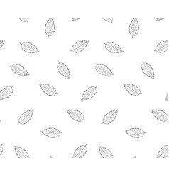Hand drawn leaves in doodle style -seamless vector