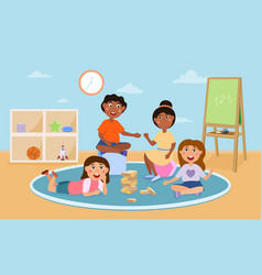happy cute kids playing with different toys vector image