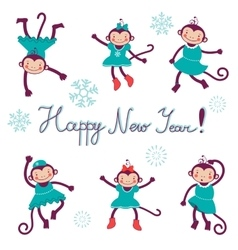 Happy new year card with monkeys - symbol of 2016 vector