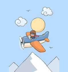 Happy smiling kid flying on airplane vector