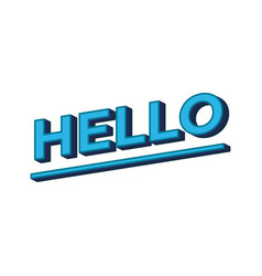 hello lettering calligraphy hello word in blue vector image