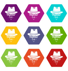 hipster hat icons set 9 vector image