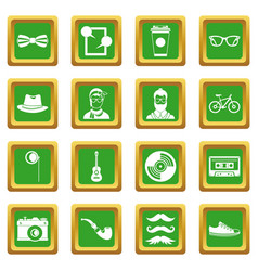 hipster icons set green vector image
