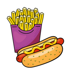 hot dog and french fries vector image
