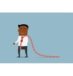 Hungry manager with sausages over shoulder vector