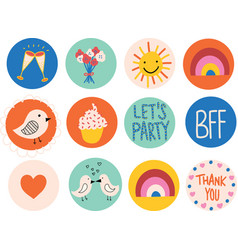 icon set cute hand drawn elements vector image