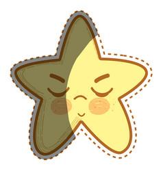 Kawaii angry star with close eyes vector