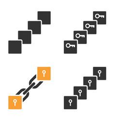 Key blockchain icon set vector