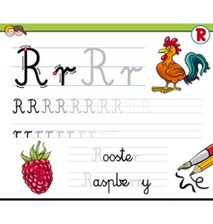 learn to write letter r vector image