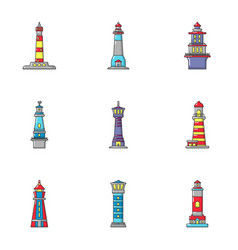 lighthouse icons set cartoon style vector image