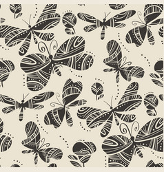 Linocut style dragonfly and butterfly pattern vector