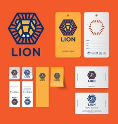 lion logo kids wear emblem identity vector image