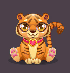 little cute cartoon sitting baby tiger icon vector image