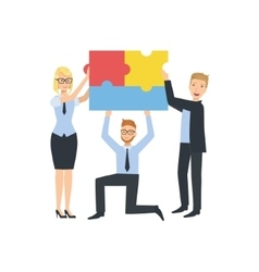 Managers Holding Connected Pieces Of Puzzle vector