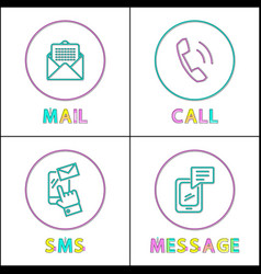 modern means of communication outline icon set vector image
