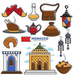 morocco tourism travel famous symbols and tourist vector image