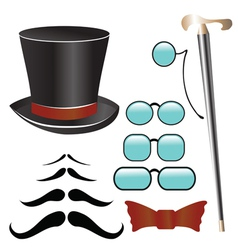 Mustaches and retro accessories vector image