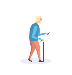 old man walking stick using smartphone elderly vector image