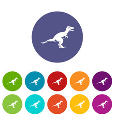 Ornithopod dinosaur icons set flat vector